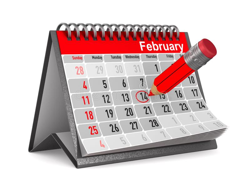 14 february. Calendar on white background. Isolated 3D illustration vector illustration