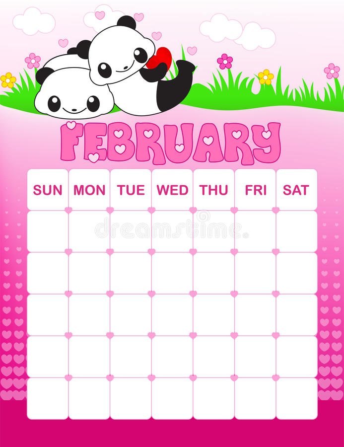 February calender. Colorful wall calender page template with seasonal graphics for each month. February valentines day themed calender page stock illustration