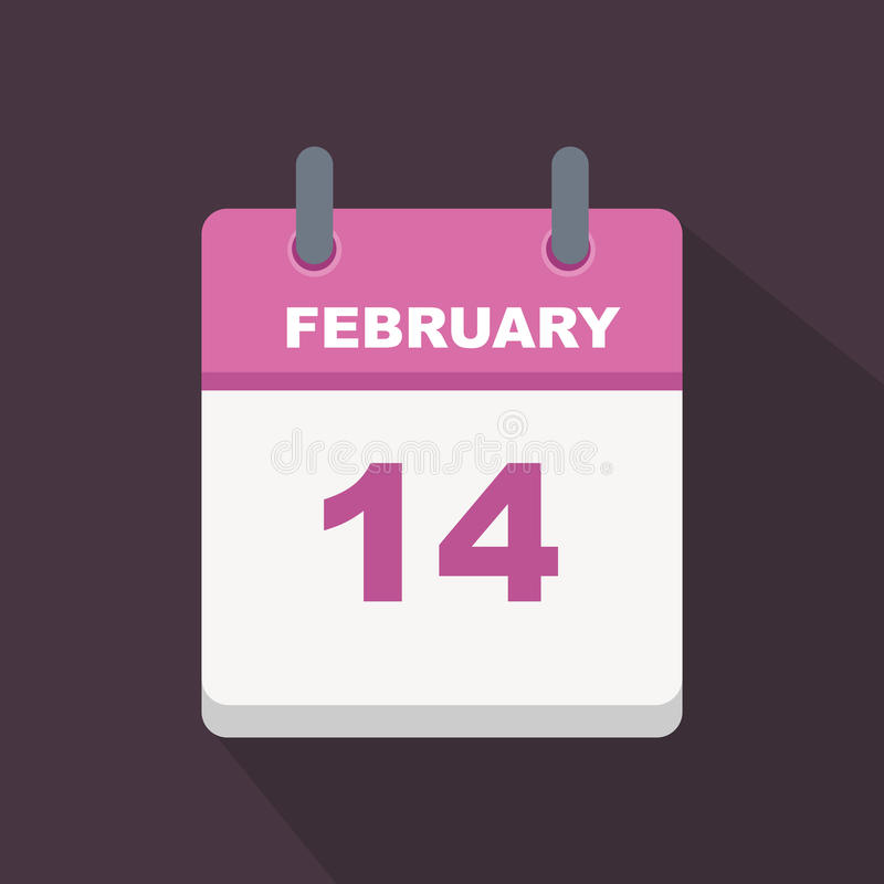 February 14 calender. Valentine& x27;s day calender february 14 vector icon vector illustration