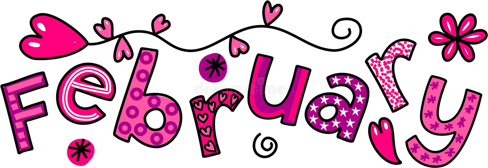 February Clip Art. Whimsical cartoon text doodle for the month of February stock illustration