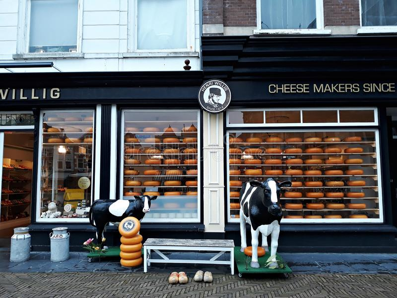 5 February 2019, Delft, Netherlands, South Holland, Europe. Dutch cheese shop. stock images