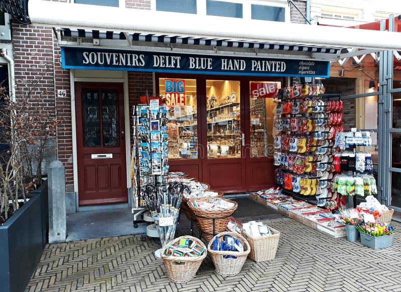 5 February 2019, Delft, Netherlands, South Holland, Europe. Souvenir shop. royalty free stock photo