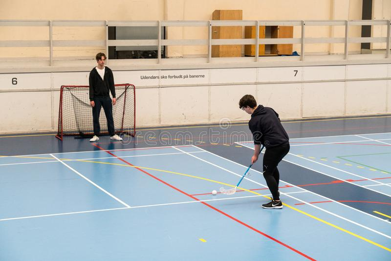 February 21, 2019. Denmark. Copenhagen. Team game with stick and ball Floorball or hockey in hall. Inside training in the gym of. The school college. Group of stock images