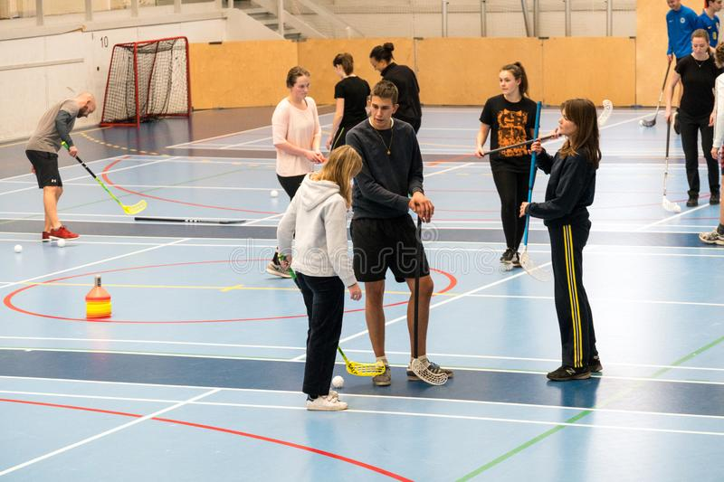 February 21, 2019. Denmark. Copenhagen. Team game with stick and ball Floorball or hockey in hall. Inside training in the gym of. The school college. Group of royalty free stock photography