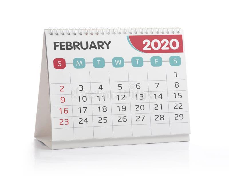 February 2020 Desktop Calendar. Isolated on White stock photography
