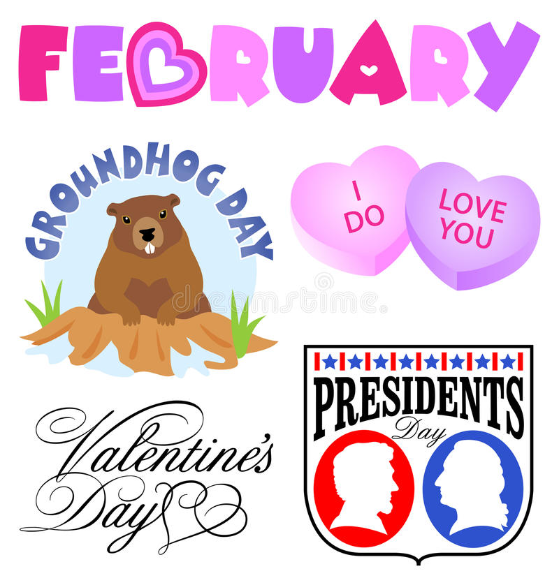 February Events Clip Art Set/eps stock photography
