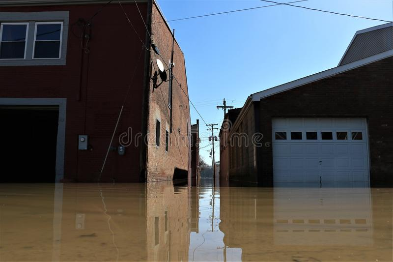 Flooded garages in Aurora, Indiana. February 2018 flooding of Aurora, Indiana from the Ohio River. Garages under water royalty free stock images