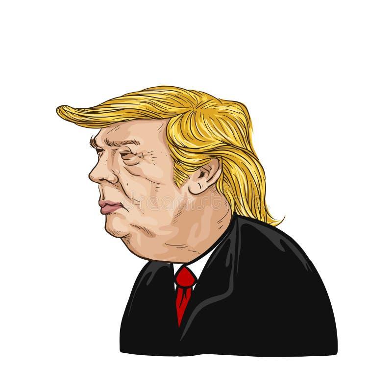 February 20, 2017. Illustration Donald Trump stock illustration