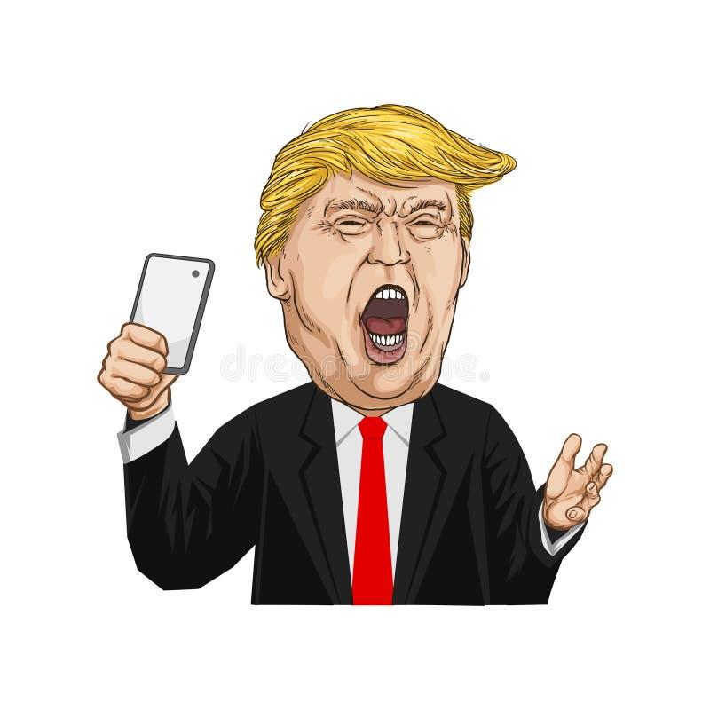 February 20, 2017. Illustration Donald Trump royalty free stock image
