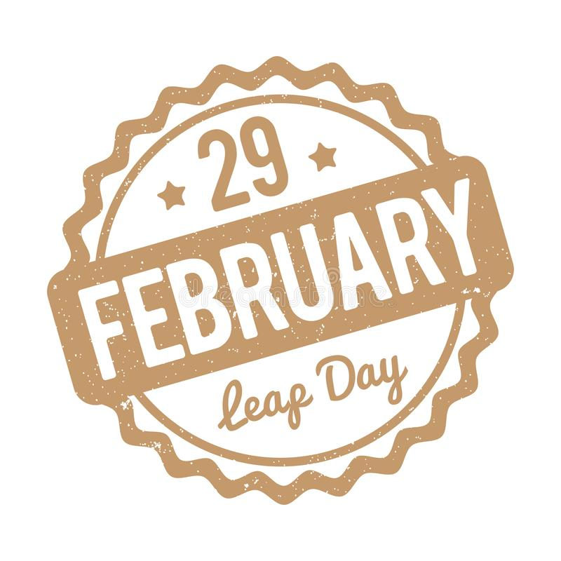 29 February Leap Day rubber stamp brown on a white background. 29 February Leap Day rubber stamp brown on a white background stock illustration