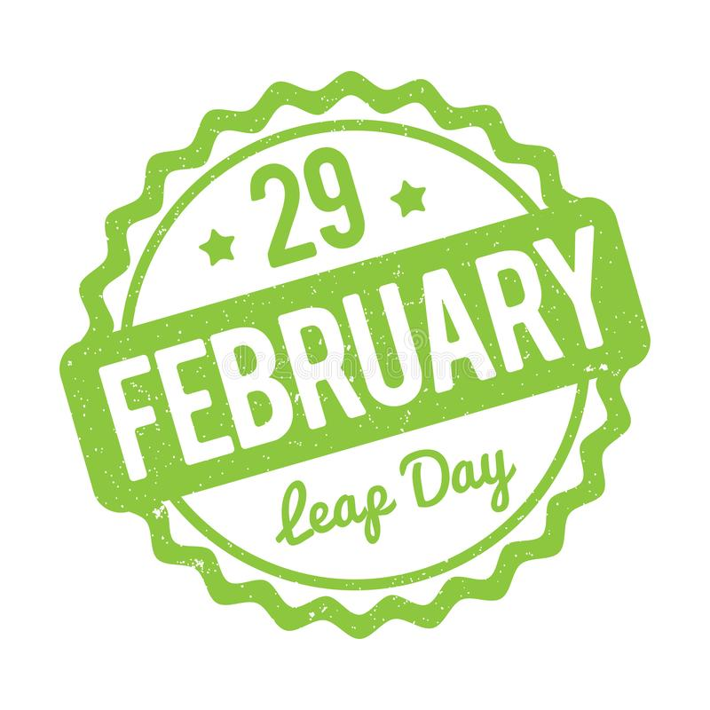 29 February Leap Day rubber stamp green on a white background. 29 February Leap Day rubber stamp green on a white background royalty free illustration