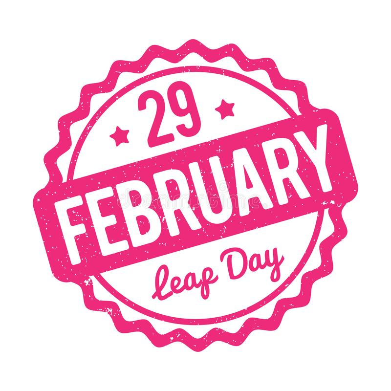 29 February Leap Day rubber stamp pink on a white background. 29 February Leap Day rubber stamp pink on a white background stock illustration