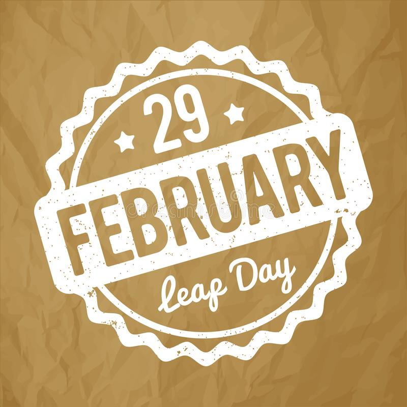 29 February Leap Day rubber stamp white on a crumpled paper brown background. 29 February Leap Day rubber stamp white on a crumpled paper brown background stock illustration