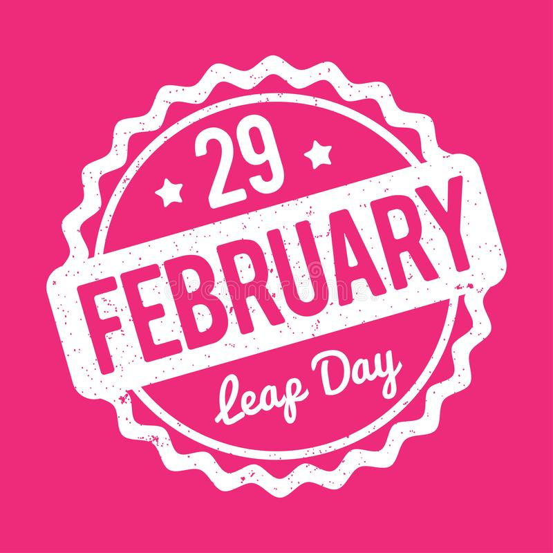 29 February Leap Day rubber stamp white on a pink background. 29 February Leap Day rubber stamp white on a pink background stock illustration