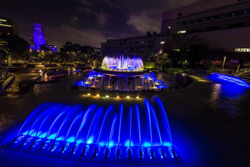FEBRUARY 2, 2019 - LOS ANGELES, CA, USA - Grand Avenue Fountains overlooking Los Angeles City Hall at night stock images