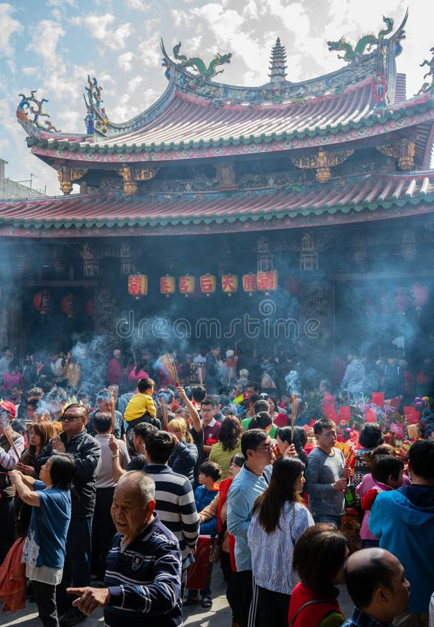 Celebration of people and crowd on chinese new year day at Lugang Tianhou Matsu temple in Lukang Taiwan royalty free stock photography