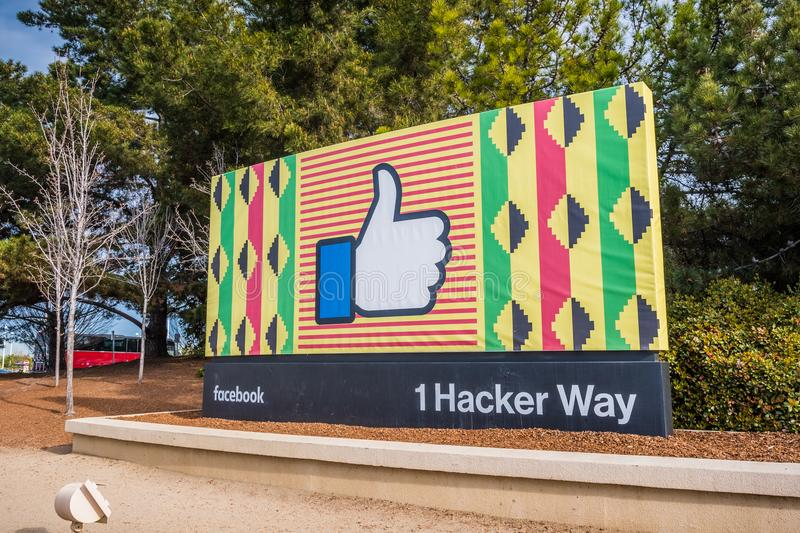 Facebook corporate headquarters campus sign in Silicon Valley stock images
