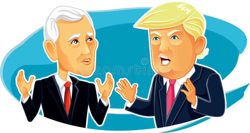 Mike Pence and Donald Trump Vector Caricature. February 23, 2017 Mike Pence and Donald Trump Vector Caricature Vector illustration of the American President and royalty free illustration