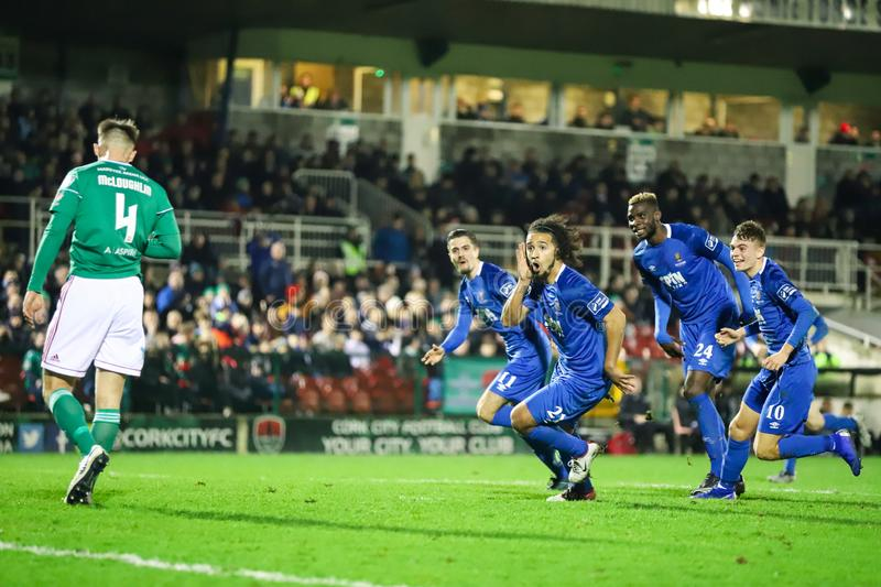 Bastien Hery during the Cork City FC vs Waterford FC match at Turners Cross for the League of Ireland Premier Division. February 22nd, 2019, Cork, Ireland royalty free stock image