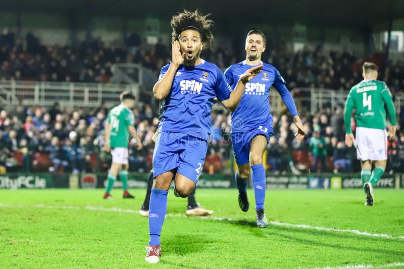 Bastien Hery during the Cork City FC vs Waterford FC match at Turners Cross for the League of Ireland Premier Division. February 22nd, 2019, Cork, Ireland royalty free stock images