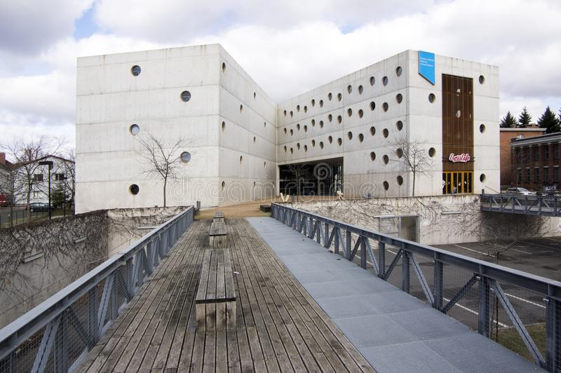 February 17, 2017 - Research Library an extraordinary concrete building with round windows in Hradec Kralove stock photography