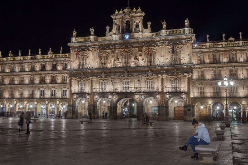 Salamanca, Castilla y León, Spain. Plaza Mayor at night. royalty free stock photography