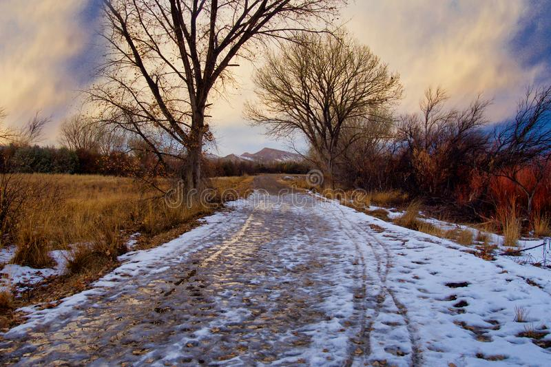 February Snow and Slush. Not exactly winter, not quite spring. The Grand Valley, approximately 30 miles long and 5 miles wide, is located along the Colorado royalty free stock photos
