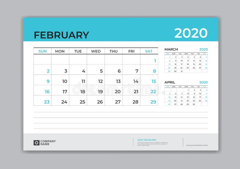 FEBRUARY 2020 template, Desk Calendar for 2020 year, week start on sunday, planner design, stationery, business printing royalty free illustration
