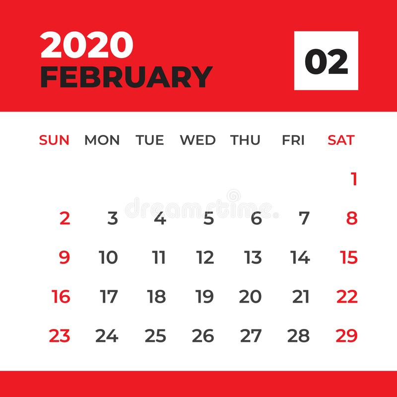 FEBRUARY 2020 template, Desk Calendar for 2020 year, week start on sunday, planner design, stationery, Calendar layout vector vector illustration