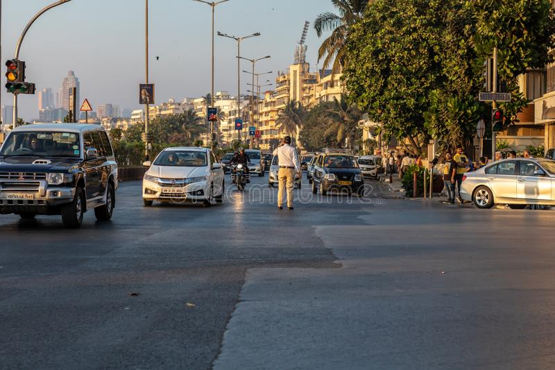 February 2019 Traffic control at Church gate, Mumbai, India. February 2019 royalty free stock images