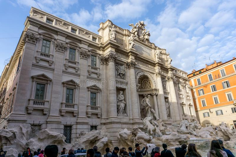 February 2018: Trevi fountain in Rome, italy. February 2018: building and sky view of Trevi fountain in Rome, italy royalty free stock photography