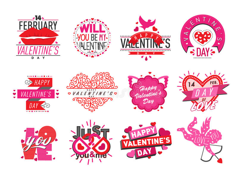 14 february Valentine Day love badges vector illustration. stock illustration