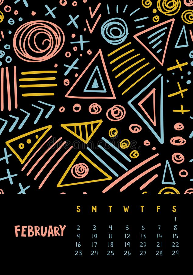 February. Vector colorful monthly calendar for 2020 year with abstract marker doodle royalty free illustration