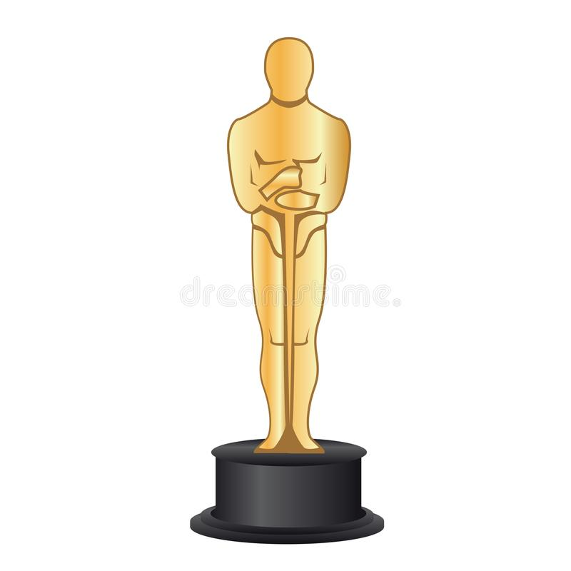 February 19, 2018: Vector illustration of a gold figurine Oscar. stock illustration
