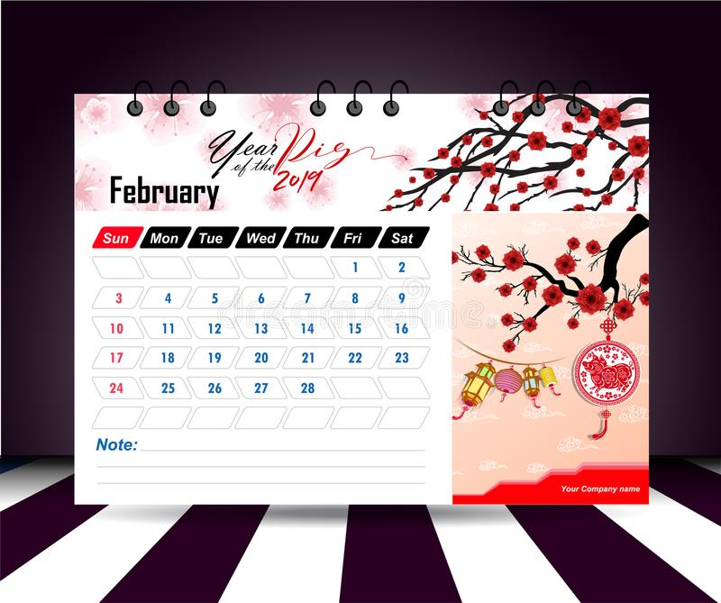 February 2019. Wall calendar planner template. Vector design print template with place for photo. Week starts on Sunday. Wall calendar 2019 planner template royalty free illustration