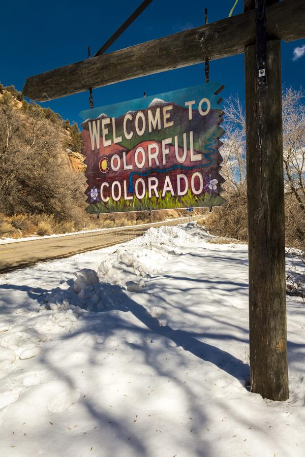 FEBRUARY, 2019 - WESTERN STATES - USA - Americana Roadside America shows Welcome to Colorado in snow stock photos