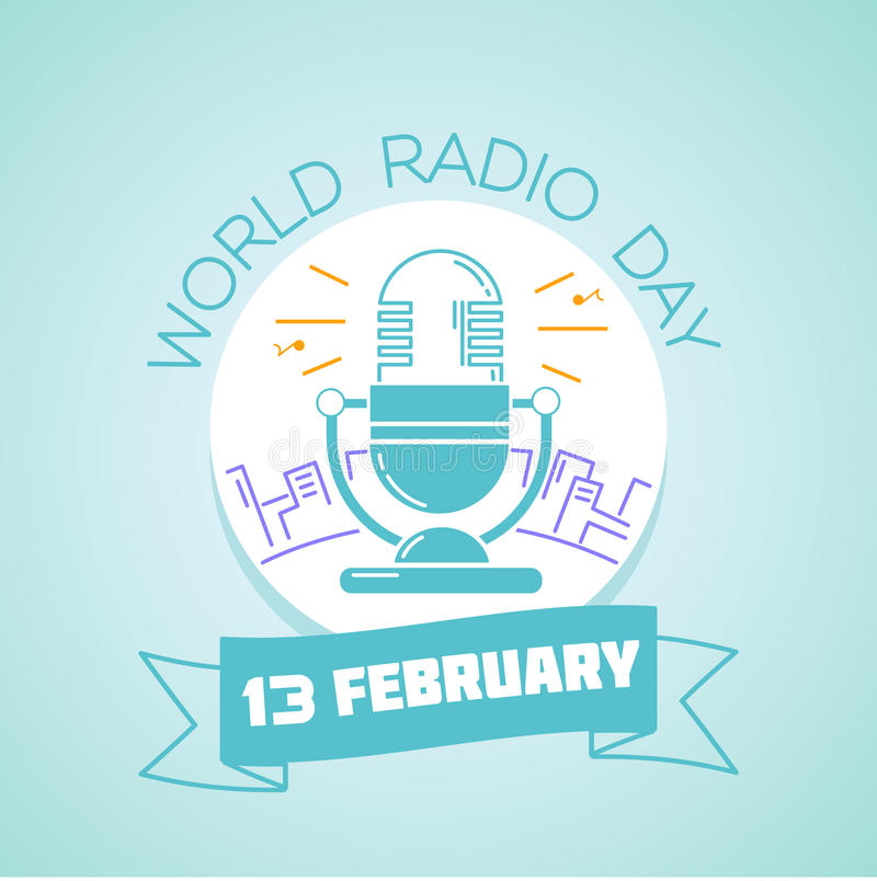 13 February World Radio Day royalty free illustration