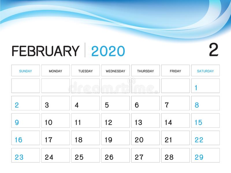 FEBRUARY 2020 Year Template, Calendar 2020 Vector, Desk Calendar Design, Week Start On Sunday, Planner, Stationery, Printing stock illustration
