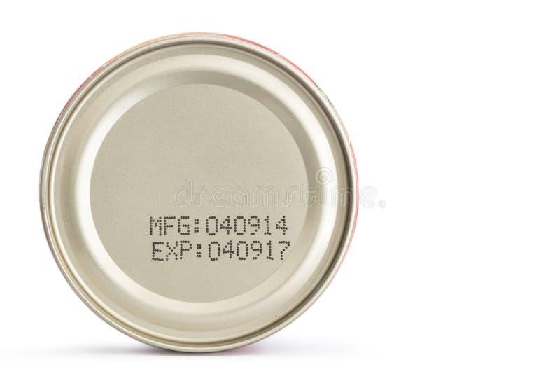 Fecha de caducidad macra en la comida enlatada fotografía de archivo libre de regalías