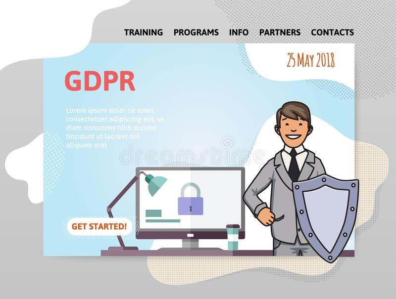Fecha de GDPR Regulación general de la protección de datos Hombre con un escudo delante del ordenador Plantilla del diseño del si libre illustration