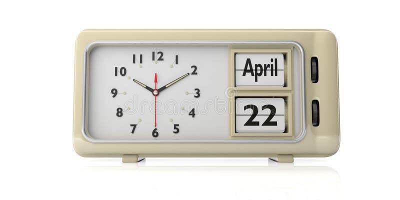 Fecha de la celebración del Día de la Tierra en el despertador retro viejo, fondo blanco, aislado, ejemplo 3d stock de ilustración