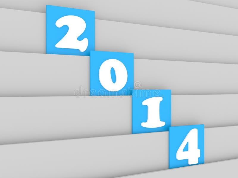 Fecha del Año Nuevo 2014 en el fondo de madera blanco ilustración del vector