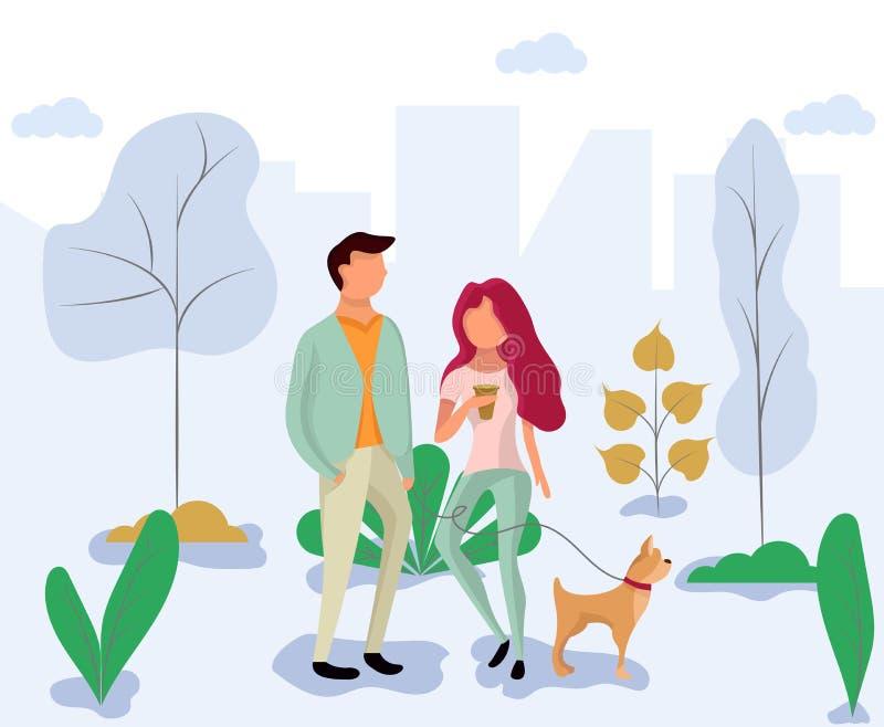 Fecha en el parque Un par camina con un perro lejos del centro de ciudad stock de ilustración