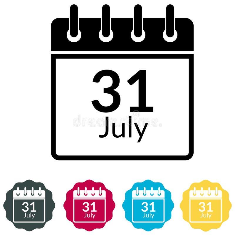 Fecha límite de presentación del impuesto sobre la renta - 31 de julio icono - ejemplo stock de ilustración