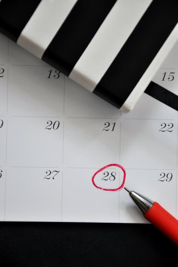 Fecha marcada 28 en calendario fotografía de archivo libre de regalías