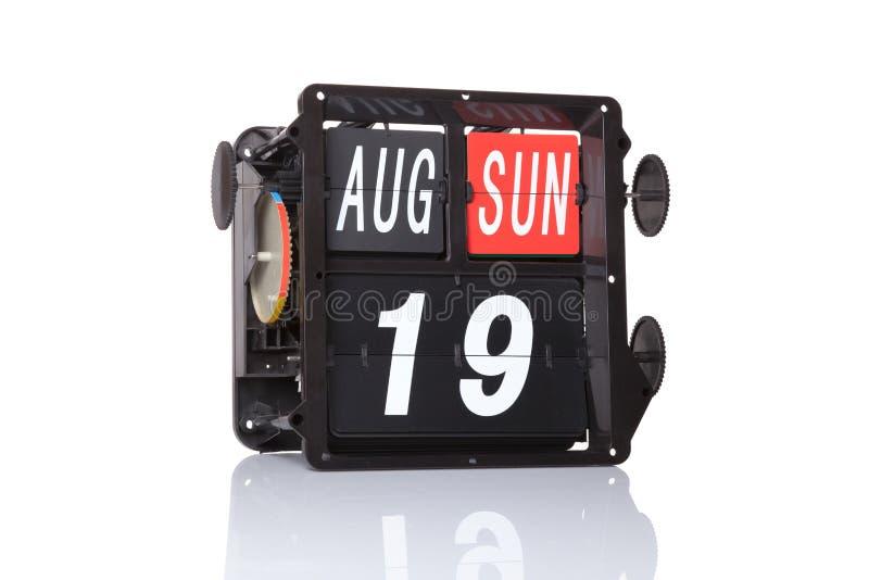 Fecha retra del calendario mecánico aislada foto de archivo libre de regalías