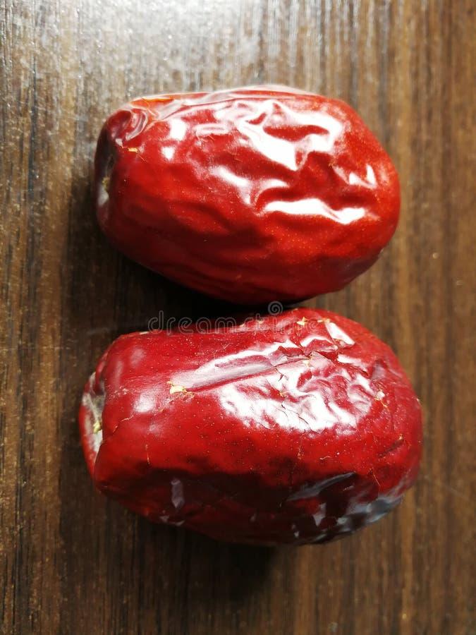 Fecha roja - fruta de la azufaifa foto de archivo