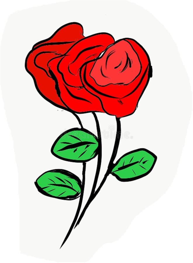 Fecha romántica, dulce, la opción del amante, y las rosas rojas de la naturaleza a compartir con sus signifant, amadas stock de ilustración