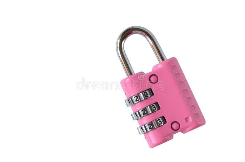 Fechamento cor-de-rosa fechado isolado do código para uma mala de viagem no backgroun branco imagens de stock