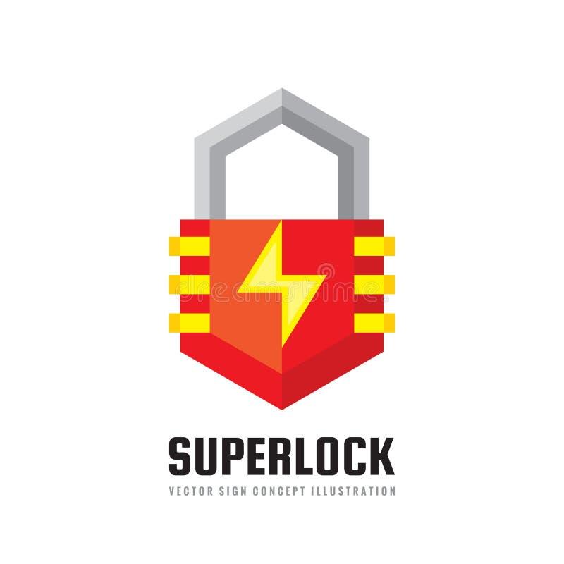 Fechamento da segurança - vector a ilustração do conceito do molde do logotipo Sinal criativo abstrato da proteção Elemento do pr ilustração royalty free